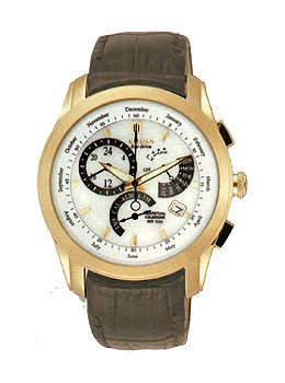Citizen Men's Calibre 8700 Chronograph Alarm Brown Leather Strap Watch BL8002-08A - Citizen Eco Drive Mens Chronograph
