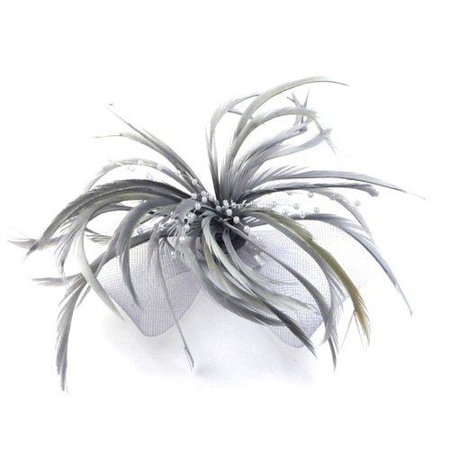 Bride Boutique Haar-Clip / Haarschmuck für Hochzeiten mit Netzeinsatz, Feder und Perlen - Silbergrau Silber Haar-clips