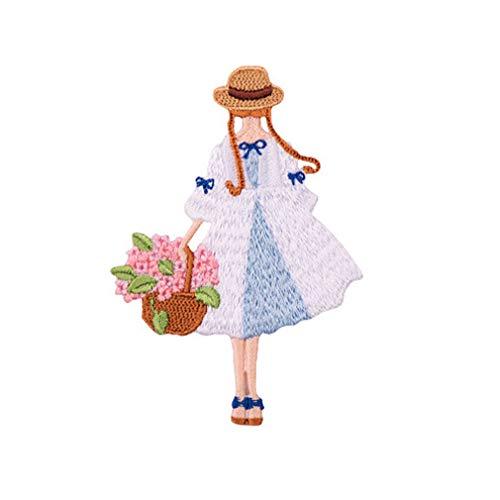 (Yinew Cartoon Mädchen Und Blume Form Stickerei Patch Nette Appliques DIY Hut Mantel Kleid Hosen Zubehör Nähen Dekoration)