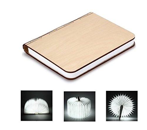 LED Buch lampe Holzbuch mit 2500 mAh Akku Lithium Nachttischlampe Nachtlicht dekorative Lampen Ölbildscheibe Papier + Holz Einband weiß Licht, Maße 22x3x17.5 cm