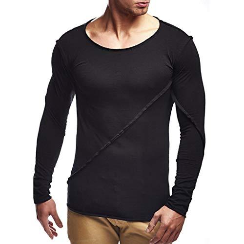 Herren Sweatshirt,TWBB Einfarbig Patchwork Pullover Shirt Lange Ärmel Männer Oberteile O-Ausschnitt Schlank Hemd Bluse