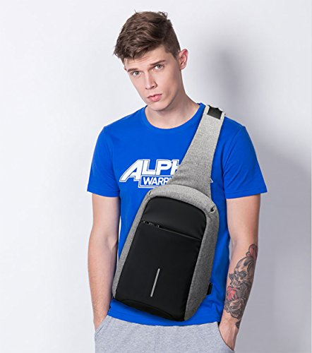 FANDARE Sling Bag Rucksack Umhängetasche Brusttasche Messenger Bag Hiking Bag Daypack Crossbody Bag Schultertasche Anti Diebstahl Polyester Schwarz Grau