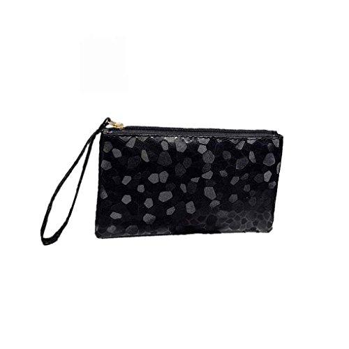 QHGstore Stein Muster Handtasche lange Frauen PU Leder Zipper Bling Make-up Tasche Karten Schlüssel Telefon Geldbörse Wallet (Geldbörsen Beliebt)