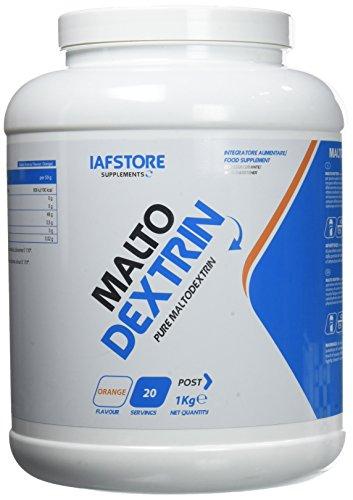 Malto Dextrin integratore alimentare di carboidrati (maltodestrine DE 19), in polvere da ricostituire a bevanda (Arancia) 1000 grammi