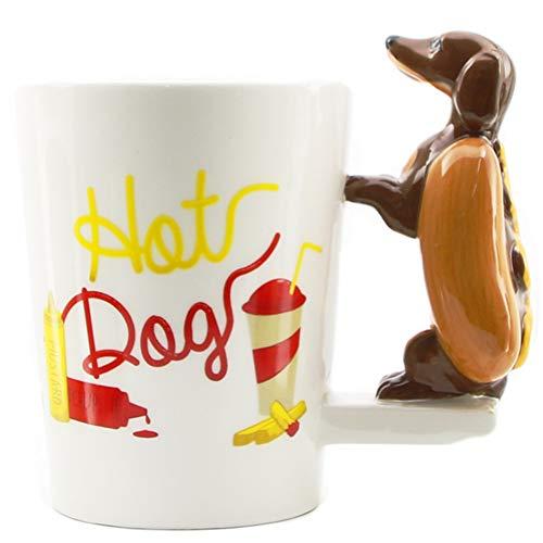 HMKZXQ 3D Dackel Wurst Hundebecher Einzigartige Wurst Hot Dog Funny Fast Food Welpen Milch Tee Kaffeetassen -