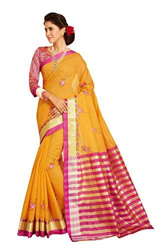 Craftsvilla Women's Kota Cotton Embroidered Traditional Orange Saree with blouse piece