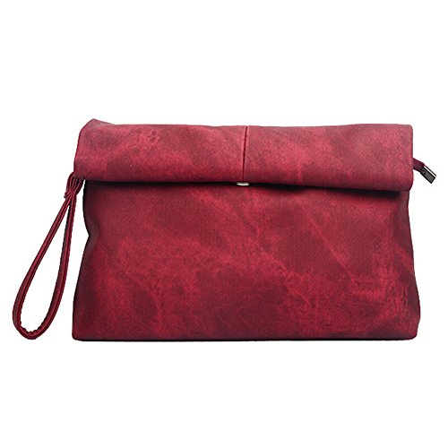 Uni-love decorativo in finta pelle moda busta frizione Red