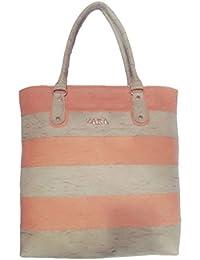 Generic Women's Leather Rexine Designer Hand Bag (Orange & Off White, Size 7 Inch)
