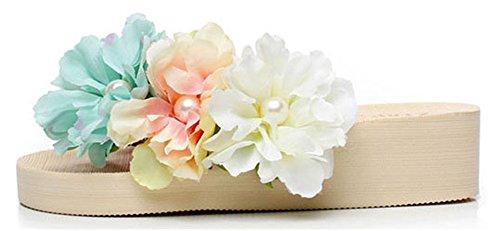 Good Night Bella Boemia Zeppe Infradito con i fiori fatti a mano Avorio