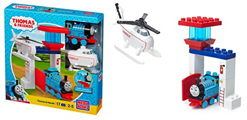 Mega Bloks Toy  Thomas und Seine Freunde Spielset  Lokomotive und Harold der Helikopter  Sodor (Mega Blok Bau)