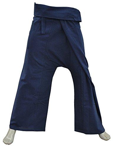 Thai410® - Wellnesshose - 100% Baumwolle - Blau - Yogahose Fischerhose