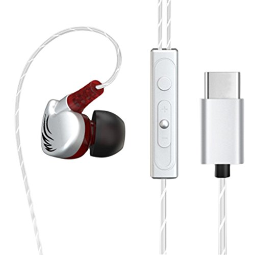 Baiyao tipo c cuffie auricolari in-ear fusion auricolari per audio di alta qualità (argento)