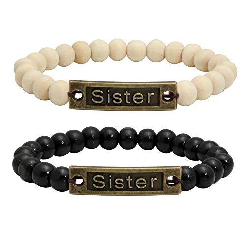 Zwei 2 Holz (MILAKOO 2 Stück Holz Perlen Armband für Frauen Mädchen Schwester)
