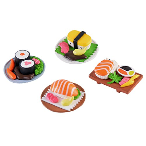 MagiDeal Miniatur Ornament Mini-Szene Fee-Verzierung Set - 4pcs Sushi, 2,5x 3,5cm Mini Sushi