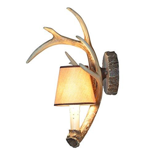 Shengdi corno di cervo, 1-Light, ferro industriale Vintage, lampada da parete, lampada del corridoio, 1017W-1Y (Coffee)