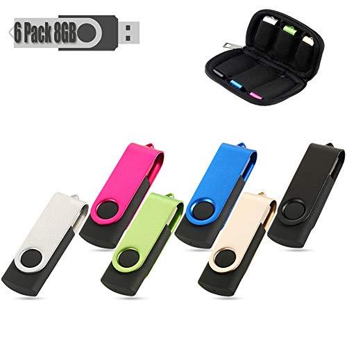 USB Stick Flash Drive USB Stick 6 Bunt USB-Stick Stück Speicherstick 2.0 (8GB, 6 Farbe) 6 Stück Usb