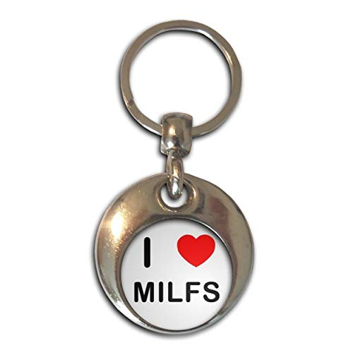 BadgeBeast.co.uk I Love Heart Milfs - Chrom runden doppelseitigen Schlüsselanhänger