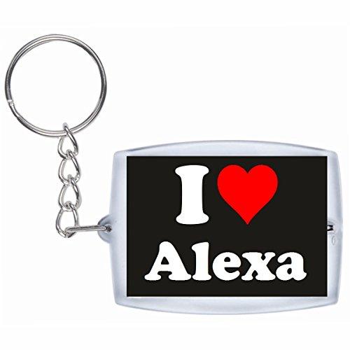 """Preisvergleich Produktbild Exklusive Geschenkidee: Schlüsselanhänger """"I Love Alexa"""" in Schwarz, eine tolle Geschenkidee die von Herzen kommt - Rucksackanhänger- Weihnachts Geschenktipp"""