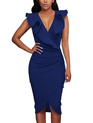 ILFtrend Rüsche V-Ausschnitt Bodycon Midi Kleid (M, Blau) (Kontrast Bodycon Kleid)