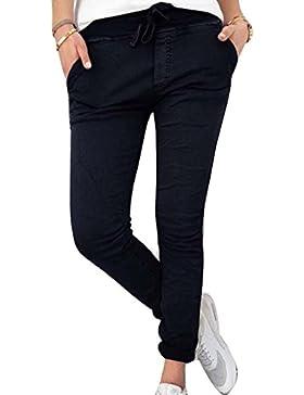 Guiran Mujer Casual Pantalones Chinos Elasticos Cintura Elastica Boyfriend Jogger Pants Negro L