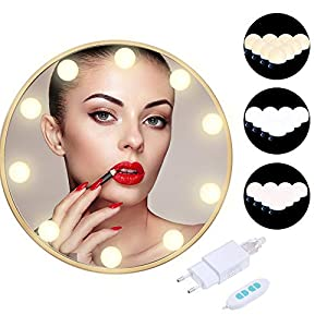 Anpro 10Stk Spiegel Beleuchtung Hollywood-Stil LED Spiegelleuchte, 3 Beleuchtungsmodi Dimmbar Spiegellampe USB mit Adapter für DIY Deko (Warmweiß, Weiß, Mischfarbtemperatur), MEHRWEG
