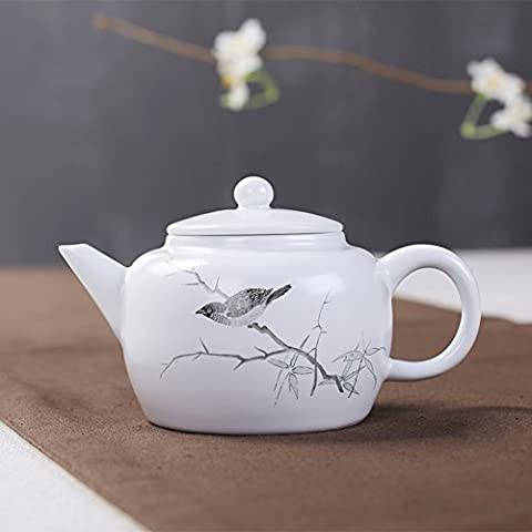 DEBON China Ceramic Tea Pot, New Hand Painted Chinese Painting White Porcelain Teapot– 200ml/ 7oz