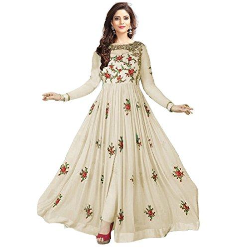 Clothfab Women Georgette Heavy Embroidery Work Pary Wear Anarkali Style Semi-Stitched Salwar...