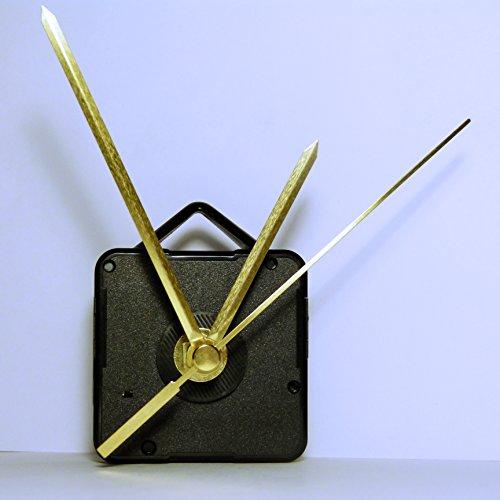 Neuf de remplacement Coutil Mécanisme de mouvement d'horloge à quartz avec métal doré mains – DIY – Fixations – (Long – Longueur totale de la tige 22 mm) 95mm Pointed