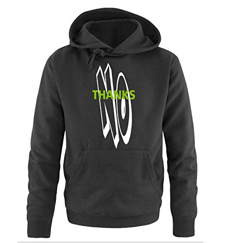 Comedy Shirts - NO THANKS - Uomo Hoodie cappuccio sweater - taglia S-XXL different colors nero / bianco-verde
