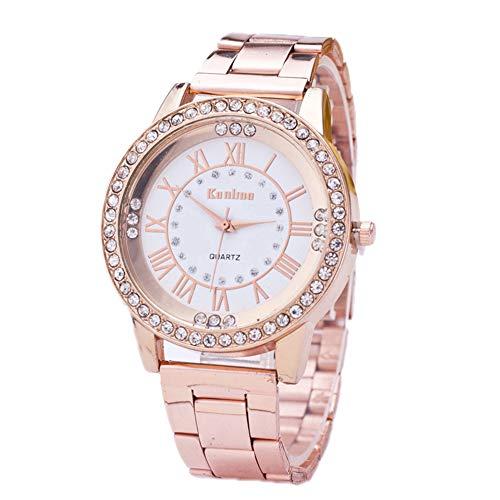 mAjglgE Quarz-Armbanduhr für Frauen, römische Ziffern Strass Index Legierung Band Runden Zifferblatt Uhr Rose Gold