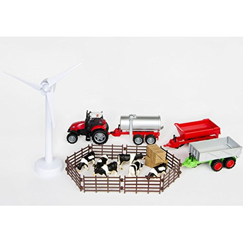 Preisvergleich Produktbild Bauernhof Set mit Traktor, Kühen mit Weidenzaun und elektrischem Windrad: Großer Holz Bauernhof Zaun Licht Spielzeug Zubehör