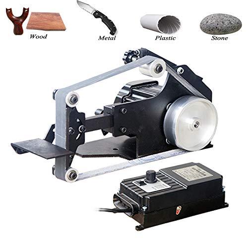 Huanyu Mini Bandschleifer Micro Desktop Grinder 800 W Elektrische DIY bürstenlose Sandmühle 0-5000 U/min Holzbearbeitungsmaschine Festwinkelschärfer mit 6 Schleifband