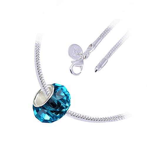 Argento sterling placcato, marzo Birthstone e Pesci Zodiac, Aquamarine blu sfaccettato europeo Vetro di Murano Charm perlina, collana pendente di modo