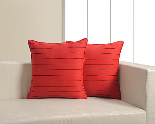 Black Stripe Cushion Cover Set With 2 Throw Pillow Covers - 100% Cotton Fabric - 18