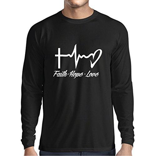 lepni.me Langarm Herren t Shirts Glaube - Hoffnung - Liebe - 1. Korinther 13:13, Christliche Zitate und Sprichwörter, Religiöse Sprüche (Small Schwarz Mehrfarben) (Glauben Langarm-t-shirt)