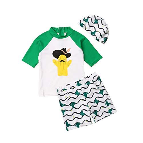 Kleinkinder Badebekleidung Kurze Ärmel T-Shirt Shorts Hut 3er Set Sonnenschutz Schwimmen Anzug Kleidung mit Hut (Grün, 3-4 Jahre) - Kleinkinder-badebekleidung