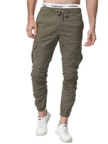 ZOEREA Jogger Cargo, Pantalones Vaqueros Chinos para Hombre Cinturšn elš¢Stico con Bolsillos mejorados