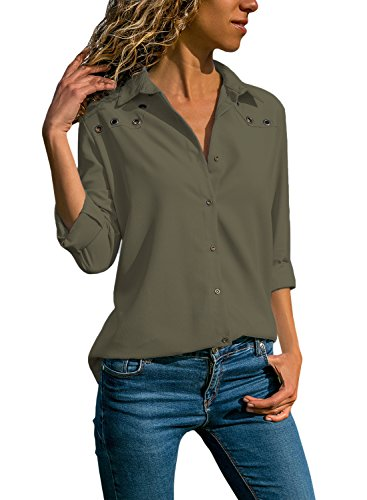 Aleumdr Bluse Damen Langarm hemdbluse V Ausschnitt Langarmshirt einfarbig Business mit Knopfleiste Hemd Oberteile Herbst und Sommer Revers Kragen- Gr. Medium (EU40-EU42), Grau