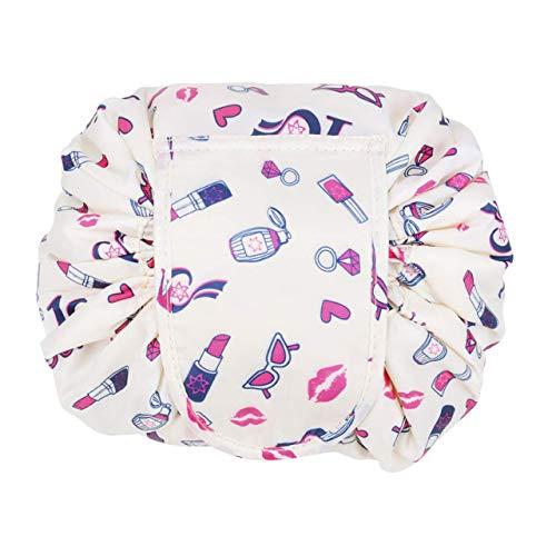 Sangsan lazy trucco trousse lazy trousse grande capacità coulisse sacchetto viaggio organizer portaoggetti confezione magic trucco borsa per donne ragazze (rossetto)