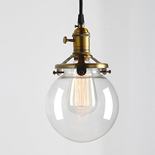 permo Vintage Industrie Anhänger-, Mini 15cm rund klar Glas Globe Hand geblasen Schatten Antik antik