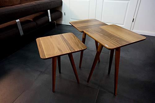 Design Beistelltisch Set SH-3 Nussbaum/Walnuss 3-teilig Carl Svensson -