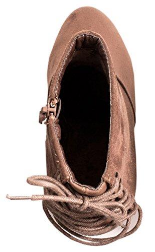 Elara Plateau Stiefeletten | Trendige Keilstiefeletten | Damen Wedges Zipper Khaki Schnürer