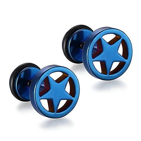 Onefeart Edelstahl Ohrringe Männer Schwarz Runden Fünf-spitzer Stern Form Bolzenschraube Piercing 11x9MM Blau