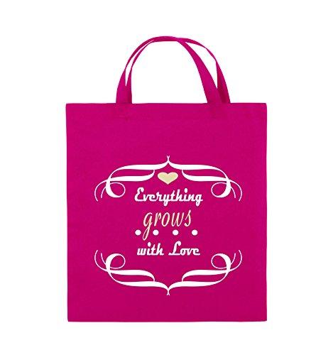 Comedy Bags - Everything grows with Love - Jutebeutel - kurze Henkel - 38x42cm - Farbe: Schwarz / Weiss-Neongrün Pink / Rosa-Weiss-Beige