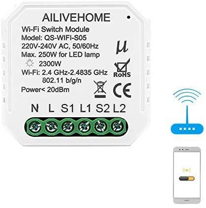 BeauFlw WiFi Smart Lichtschalter DIY Breaker Modul Smart Life/Tuya APP Fernbedienung, Arbeiten mit Alexa Echo Google Home (2 Way 2 Gang)