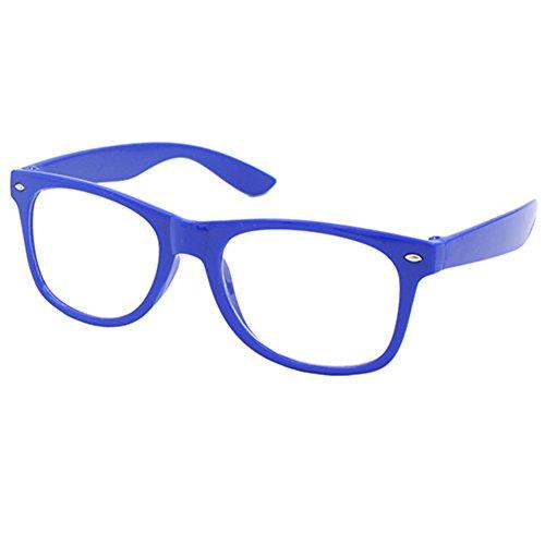 Nerd Brille Klarglas Geek Glasses Herren + Damen 80er Jahre Geek Fashion Brille (Dunkelblau)