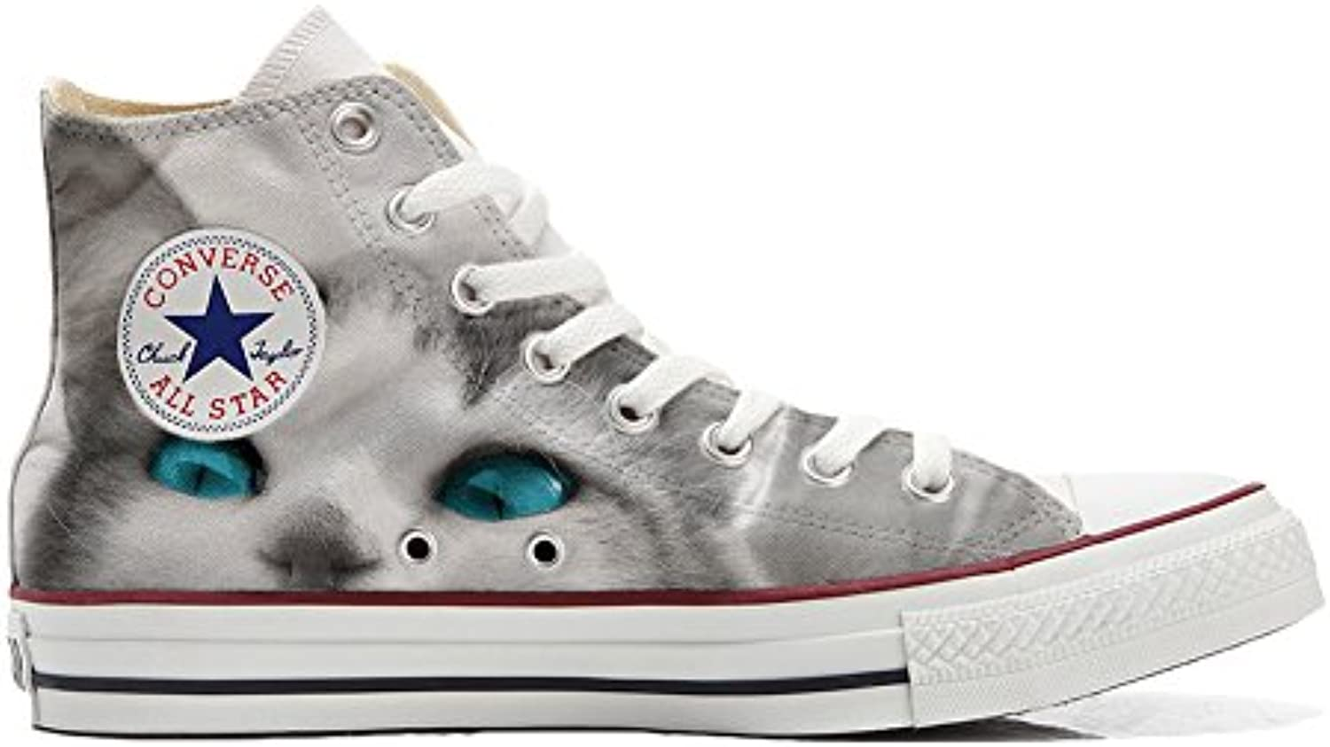 Shoes Custom Converse All Star  personalisierte Schuhe (Handwerk Produkt) White cat with blue eyes
