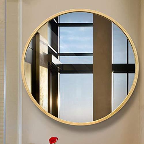 LXYPLM Wandspiegel Spiegel Badezimmer-runder Holzrahmen-Wand-Berg-hängender Spiegel europäisches Schlafzimmer dekorativ (Size : 60cm) (- Europäischer Wand-berg)