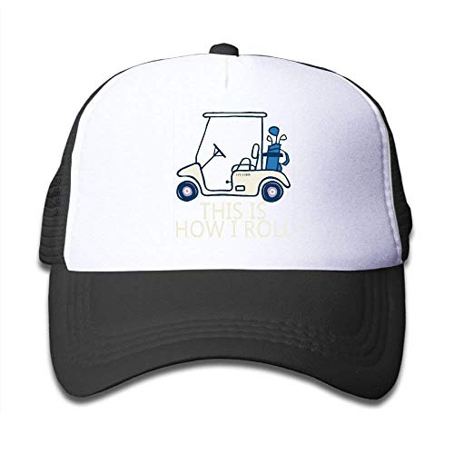 JIEKEIO Funny Baseball Caps Hats This is How I Roll Golf Cart Youth Mesh Hats Boy and Girls Baseball Trucker Caps (Oakley Boys Golf)