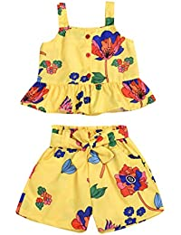 Toddler Baby Girl Outfits Floral Ruffle Sling Vest Tank Tops Bow Shorts Pants Outfit Sets Clothes